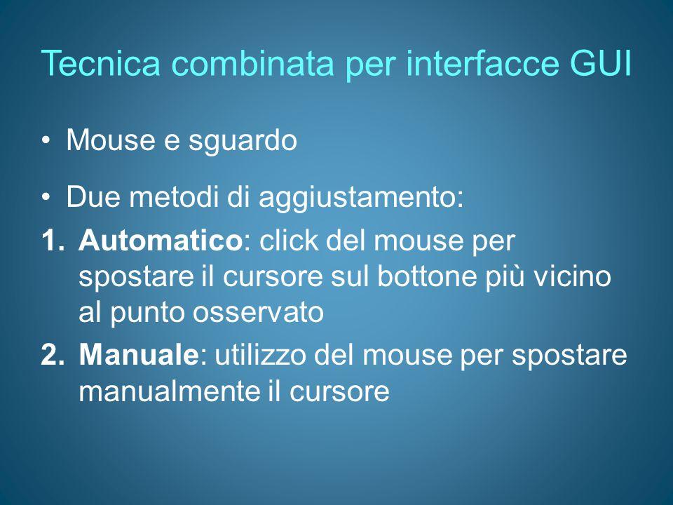 Tecnica combinata per interfacce GUI Mouse e sguardo Due metodi di aggiustamento: 1.Automatico: click del mouse per spostare il cursore sul bottone pi