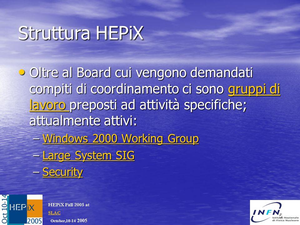 October,10-14 2005 HEPiX Fall 2005 at SLAC SLAC 5 Struttura HEPiX Oltre al Board cui vengono demandati compiti di coordinamento ci sono gruppi di lavoro preposti ad attività specifiche; attualmente attivi: Oltre al Board cui vengono demandati compiti di coordinamento ci sono gruppi di lavoro preposti ad attività specifiche; attualmente attivi:gruppi di lavoro gruppi di lavoro –Windows 2000 Working Group Windows 2000 Working GroupWindows 2000 Working Group –Large System SIG Large System SIGLarge System SIG –Security Security