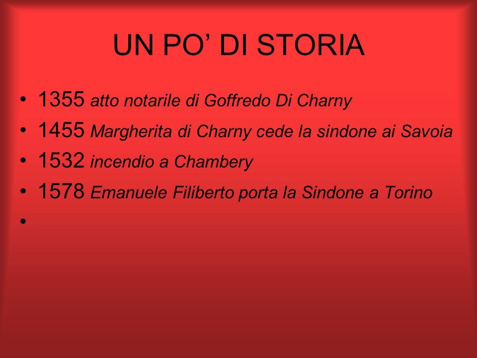 UN PO' DI STORIA 1355 atto notarile di Goffredo Di Charny 1455 Margherita di Charny cede la sindone ai Savoia 1532 incendio a Chambery 1578 Emanuele Filiberto porta la Sindone a Torino