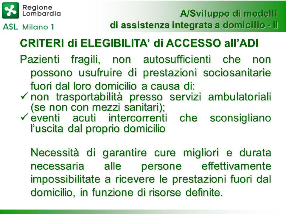 A/Sviluppo di modelli di assistenza integrata a domicilio - II CRITERI di ELEGIBILITA' di ACCESSO all'ADI Pazienti fragili, non autosufficienti che no