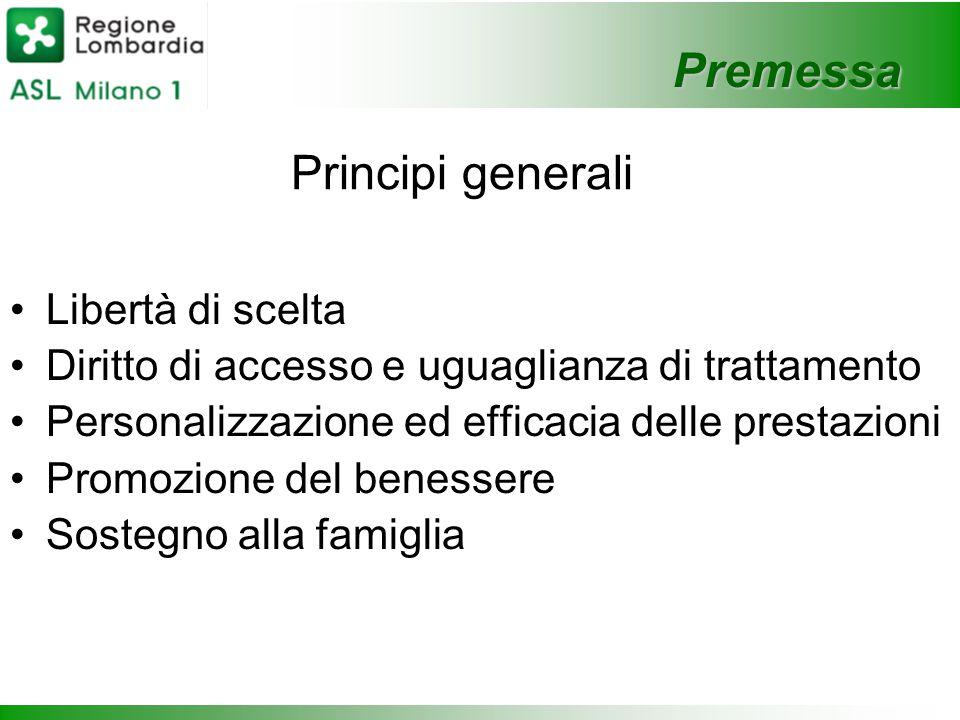 Premessa Principi generali Libertà di scelta Diritto di accesso e uguaglianza di trattamento Personalizzazione ed efficacia delle prestazioni Promozione del benessere Sostegno alla famiglia