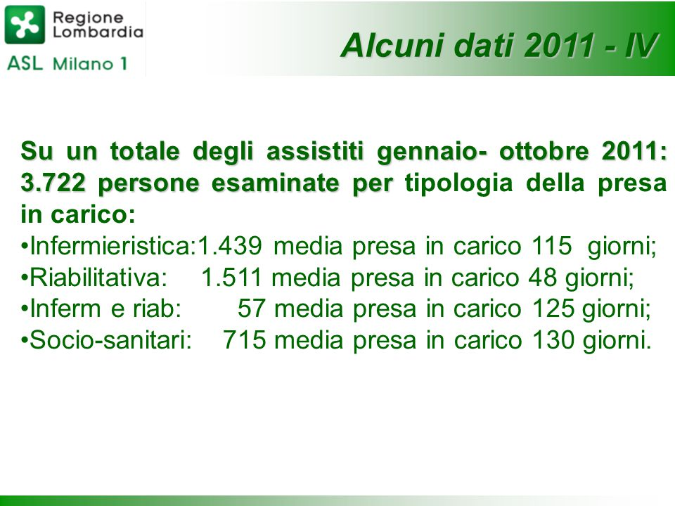 Su un totale degli assistiti gennaio- ottobre 2011: 3.722 persone esaminate per Su un totale degli assistiti gennaio- ottobre 2011: 3.722 persone esam