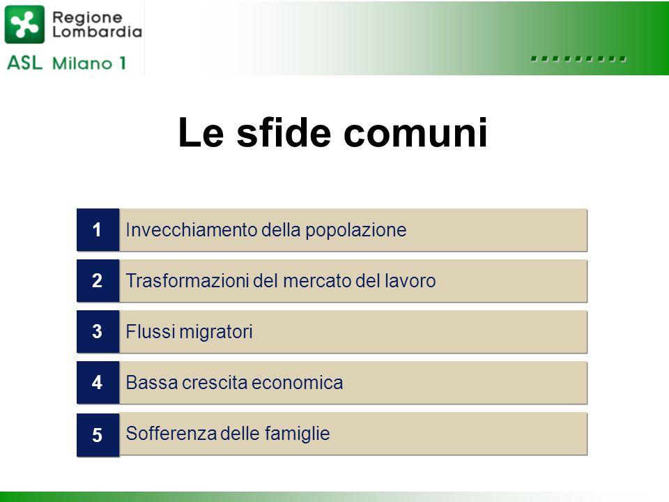 ……… Le sfide comuni Trasformazioni del mercato del lavoro 2 2 Flussi migratori 3 3 Bassa crescita economica 4 4 Sofferenza delle famiglie 5 5 Invecchiamento della popolazione 1 1