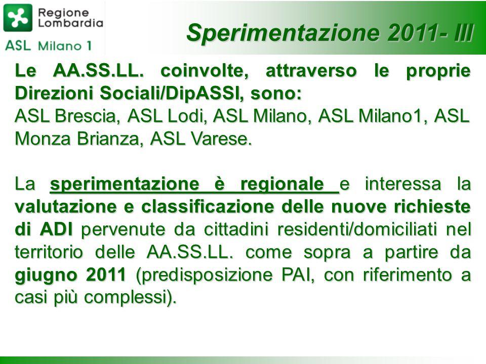 Le AA.SS.LL. coinvolte, attraverso le proprie Direzioni Sociali/DipASSI, sono: ASL Brescia, ASL Lodi, ASL Milano, ASL Milano1, ASL Monza Brianza, ASL