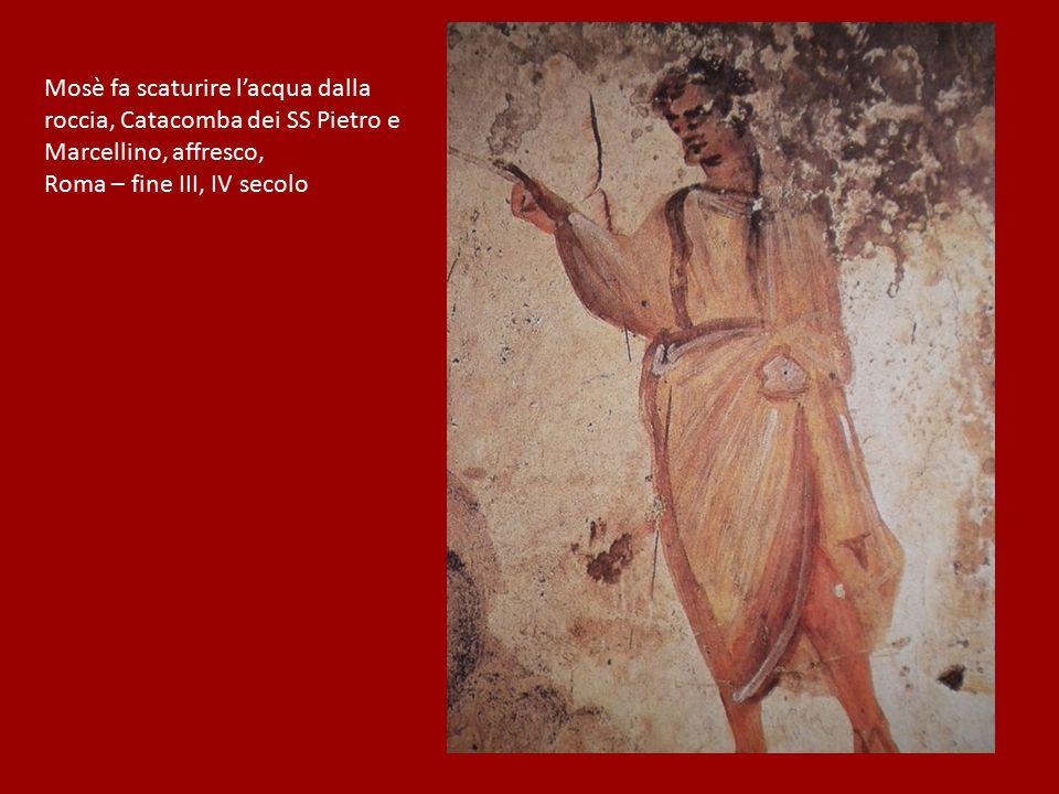 Mosè fa scaturire l'acqua dalla roccia, Catacomba dei SS Pietro e Marcellino, affresco, Roma – fine III, IV secolo