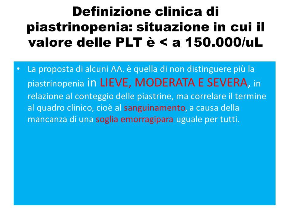 Definizione clinica di piastrinopenia: situazione in cui il valore delle PLT è < a 150.000/uL La proposta di alcuni AA. è quella di non distinguere pi