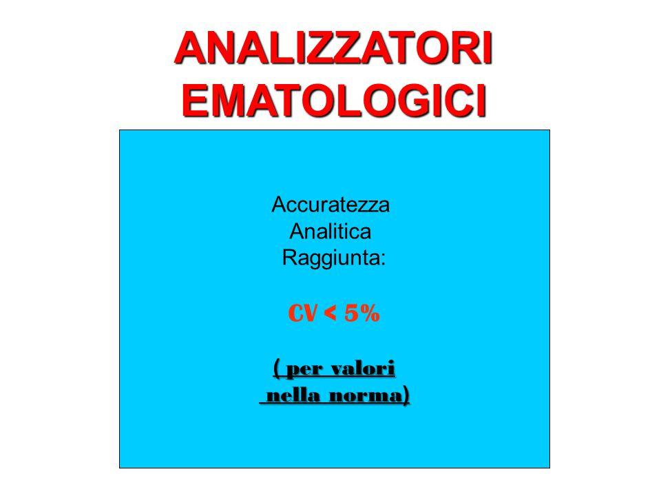 ANALIZZATORI EMATOLOGICI Accuratezza Analitica Raggiunta: CV < 5% ( per valori nella norma ) nella norma )