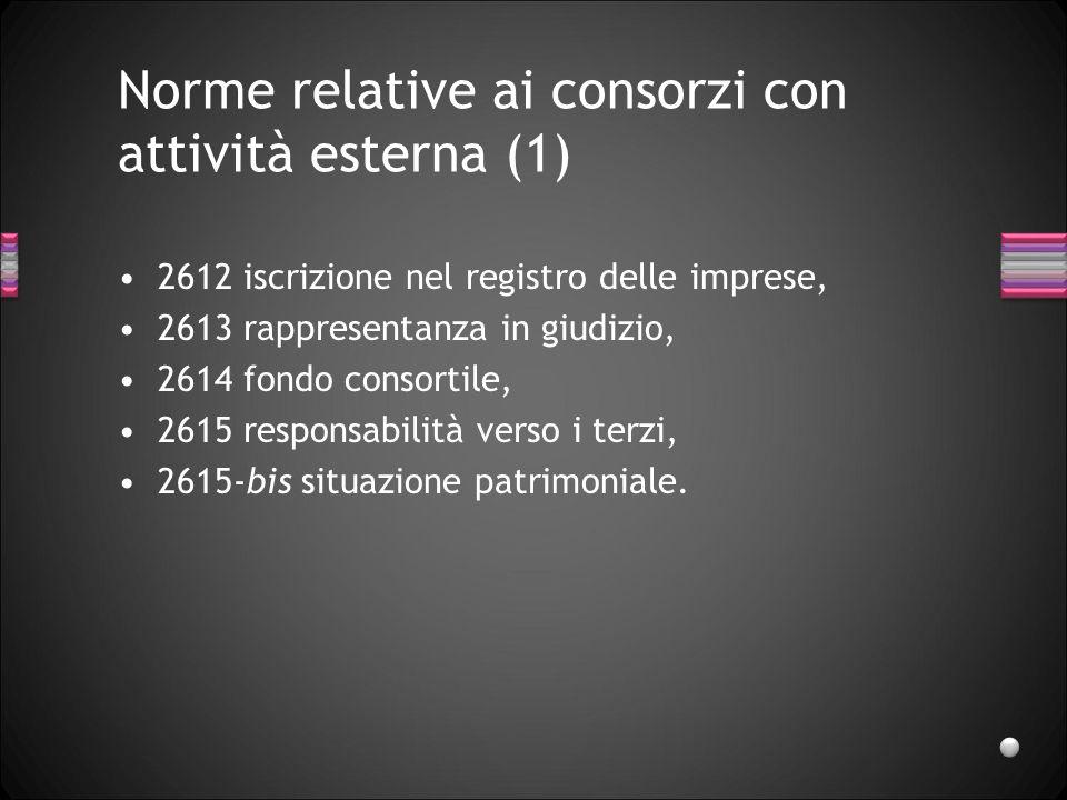 Norme relative ai consorzi con attività esterna (1) 2612 iscrizione nel registro delle imprese, 2613 rappresentanza in giudizio, 2614 fondo consortile