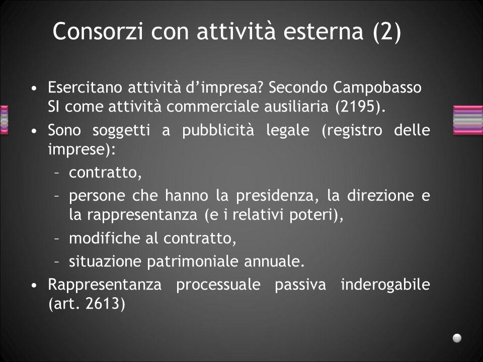 Consorzi con attività esterna (2) Esercitano attività d'impresa? Secondo Campobasso SI come attività commerciale ausiliaria (2195). Sono soggetti a pu