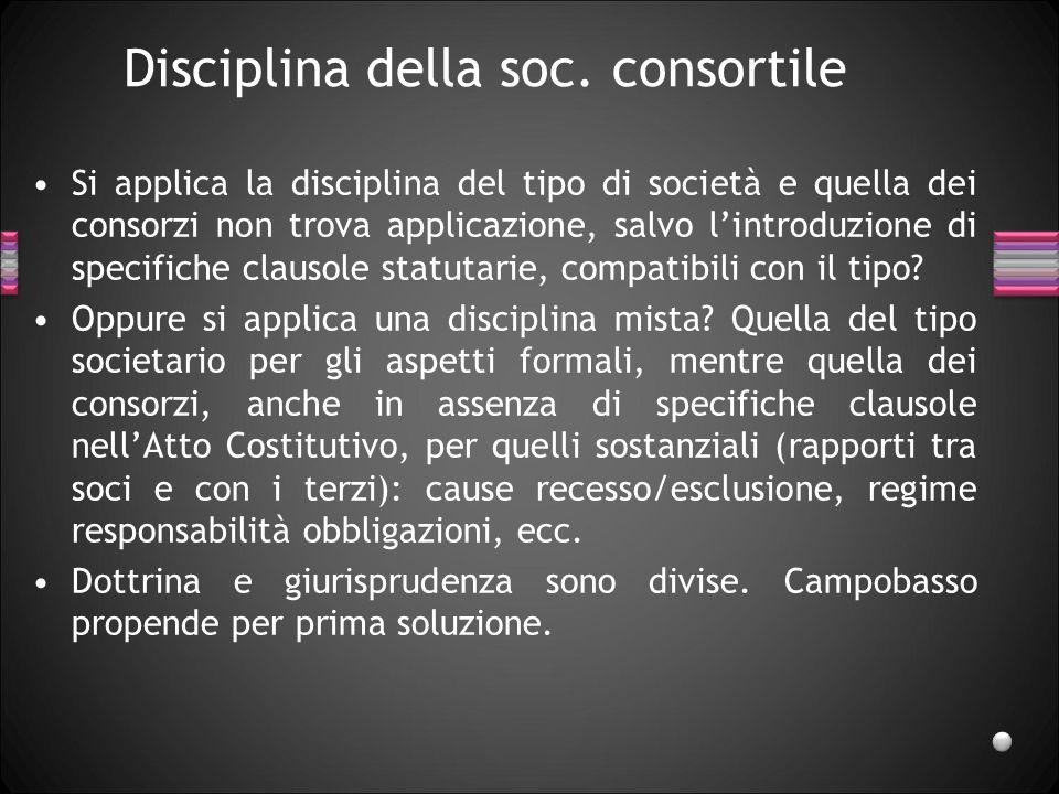 Disciplina della soc. consortile Si applica la disciplina del tipo di società e quella dei consorzi non trova applicazione, salvo l'introduzione di sp