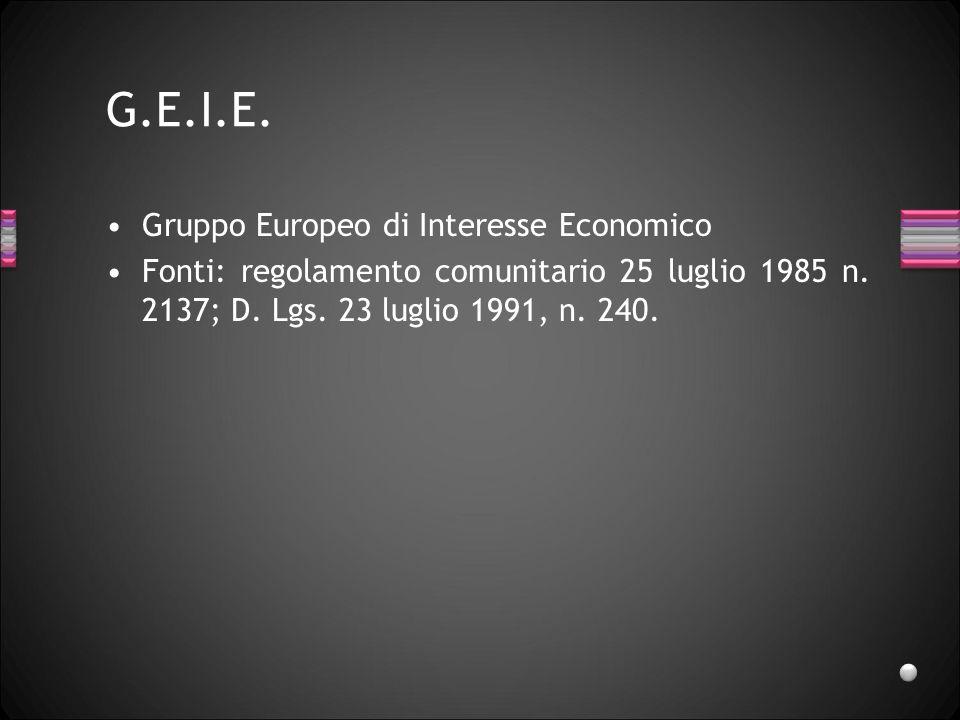 G.E.I.E. Gruppo Europeo di Interesse Economico Fonti: regolamento comunitario 25 luglio 1985 n. 2137; D. Lgs. 23 luglio 1991, n. 240.