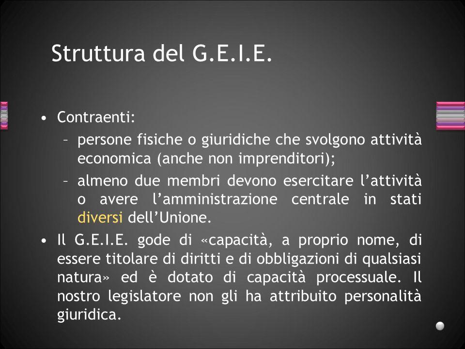 Struttura del G.E.I.E. Contraenti: –persone fisiche o giuridiche che svolgono attività economica (anche non imprenditori); –almeno due membri devono e