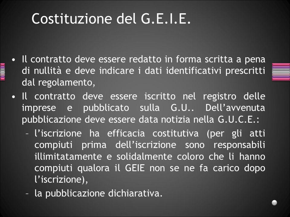 Costituzione del G.E.I.E. Il contratto deve essere redatto in forma scritta a pena di nullità e deve indicare i dati identificativi prescritti dal reg