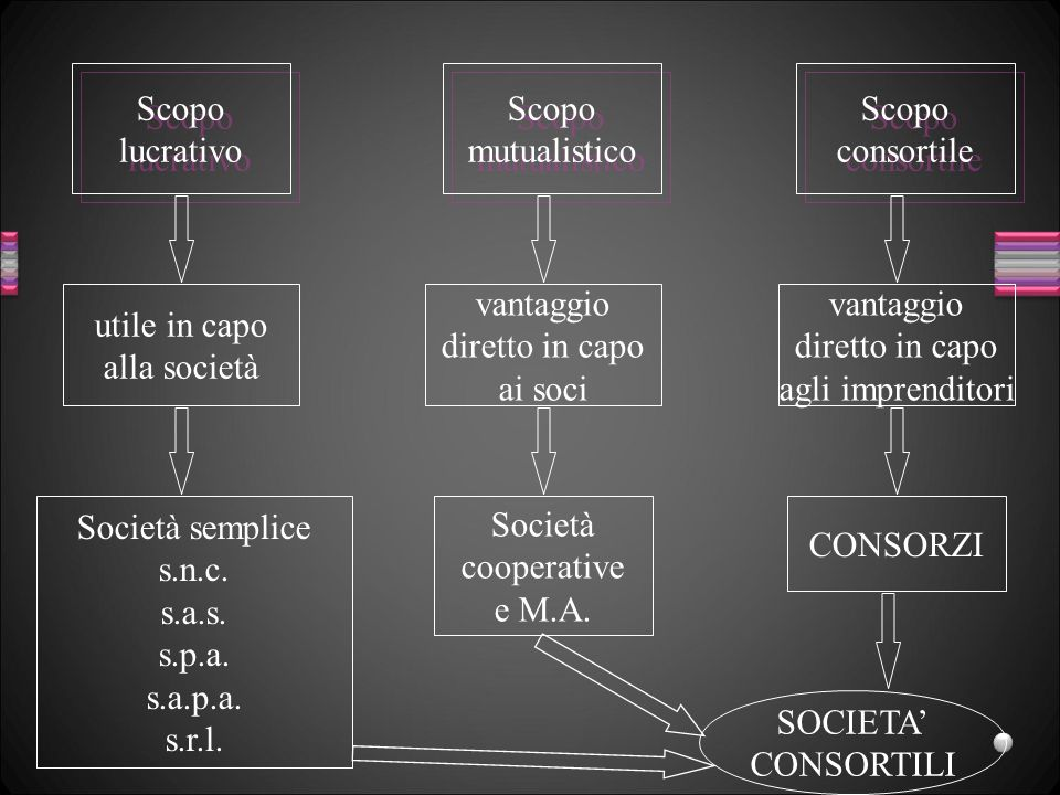 Scopo lucrativo Scopo lucrativo Scopo mutualistico Scopo mutualistico Scopo consortile Scopo consortile utile in capo alla società vantaggio diretto i