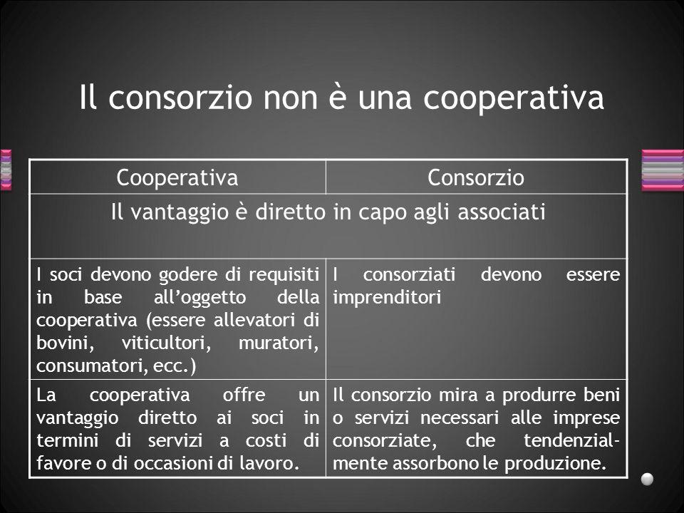 Il consorzio non è una cooperativa CooperativaConsorzio Il vantaggio è diretto in capo agli associati I soci devono godere di requisiti in base all'og