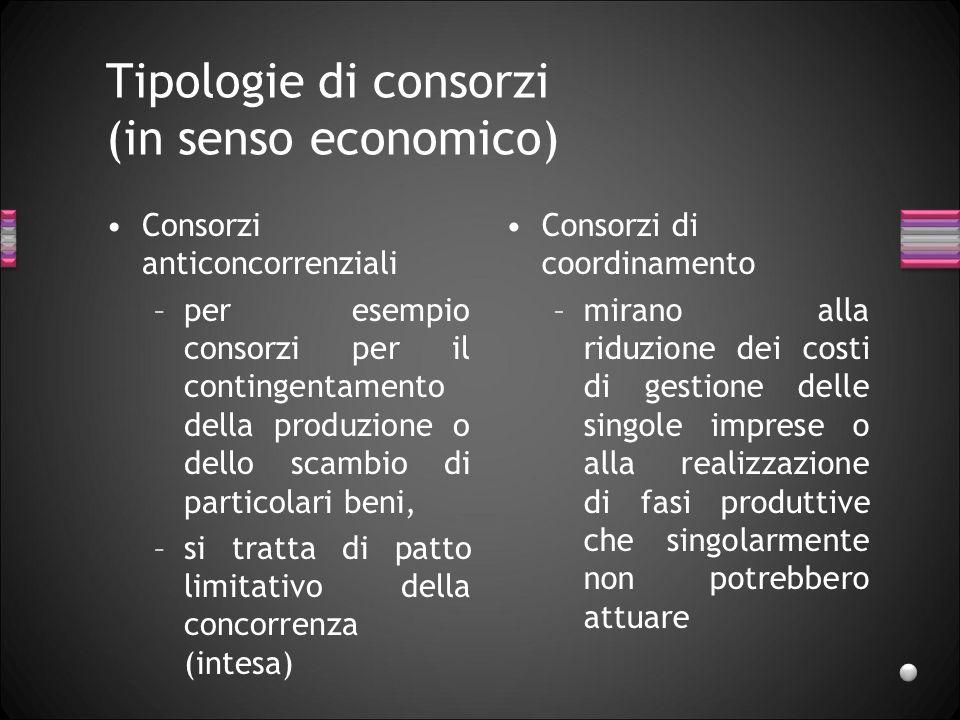 Tipologie di consorzi (in senso economico) Consorzi anticoncorrenziali –per esempio consorzi per il contingentamento della produzione o dello scambio