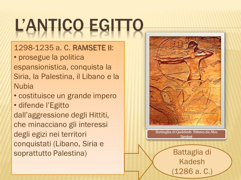 RAMSETE II 1298-1235 a. C. RAMSETE II: prosegue la politica espansionistica, conquista la Siria, la Palestina, il Libano e la Nubia costituisce un gra