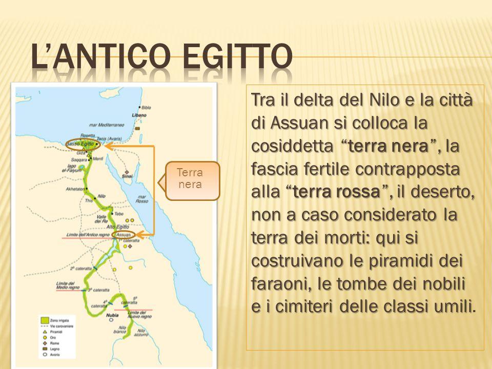"""Tra il delta del Nilo e la città di Assuan si colloca la cosiddetta """"terra nera"""", la fascia fertile contrapposta alla """"terra rossa"""", il deserto, non a"""