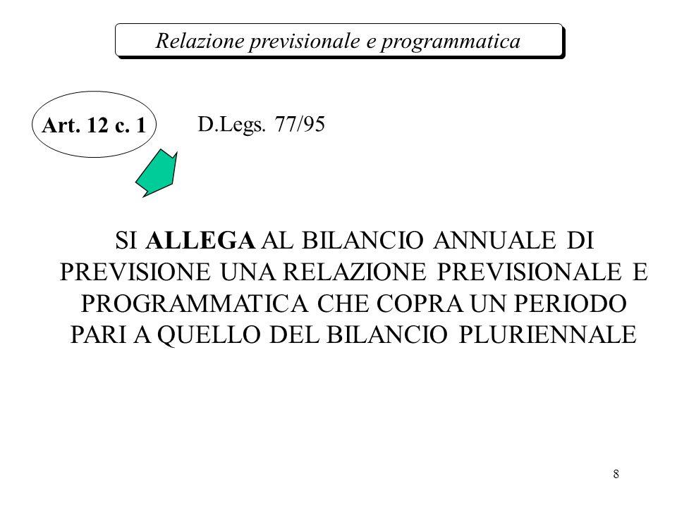 8 Relazione previsionale e programmatica Art. 12 c.