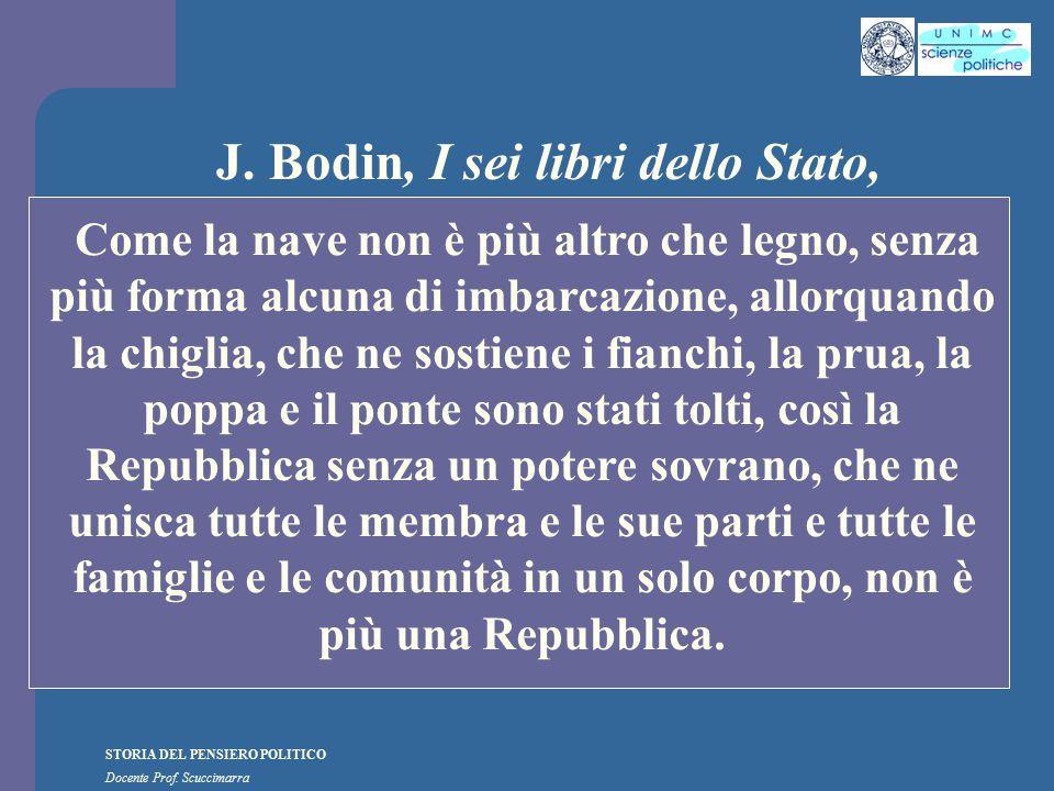 STORIA DEL PENSIERO POLITICO Docente Prof. Scuccimarra J. Bodin, I sei libri dello Stato, Come la nave non è più altro che legno, senza più forma alcu