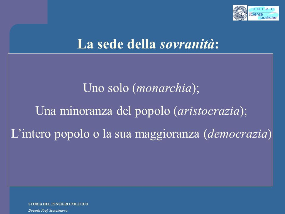 STORIA DEL PENSIERO POLITICO Docente Prof. Scuccimarra La sede della sovranità: Uno solo (monarchia); Una minoranza del popolo (aristocrazia); L'inter