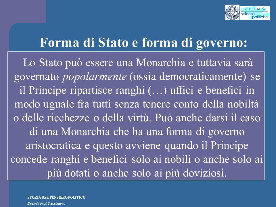 STORIA DEL PENSIERO POLITICO Docente Prof. Scuccimarra Forma di Stato e forma di governo: Lo Stato può essere una Monarchia e tuttavia sarà governato