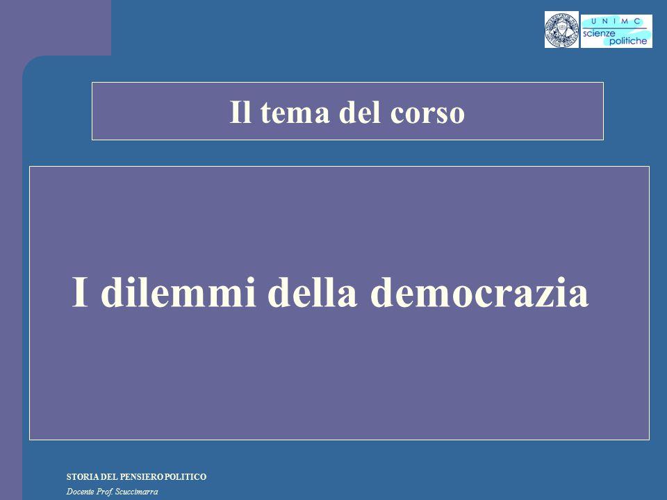 STORIA DEL PENSIERO POLITICO Docente Prof. Scuccimarra STORIA COSTITUZIONALE Il tema del corso I dilemmi della democrazia
