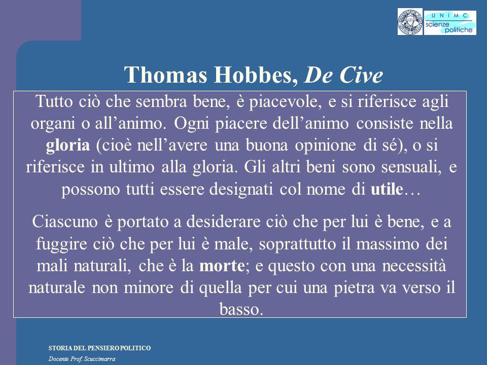 STORIA DEL PENSIERO POLITICO Docente Prof. Scuccimarra Thomas Hobbes, De Cive Tutto ciò che sembra bene, è piacevole, e si riferisce agli organi o all