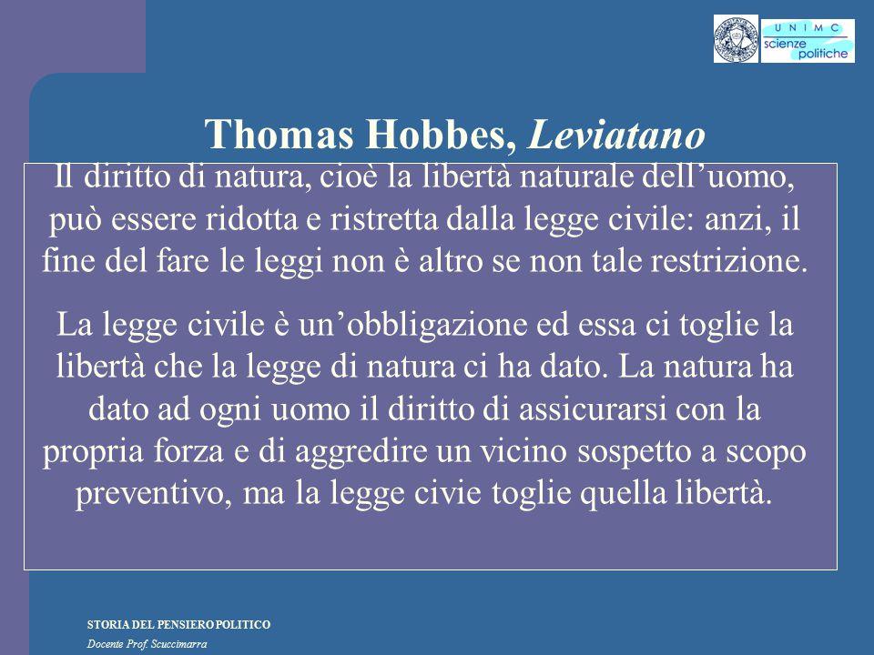 STORIA DEL PENSIERO POLITICO Docente Prof. Scuccimarra Thomas Hobbes, Leviatano Il diritto di natura, cioè la libertà naturale dell'uomo, può essere r