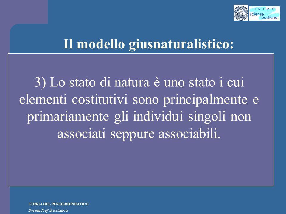 STORIA DEL PENSIERO POLITICO Docente Prof. Scuccimarra Il modello giusnaturalistico: 3) Lo stato di natura è uno stato i cui elementi costitutivi sono