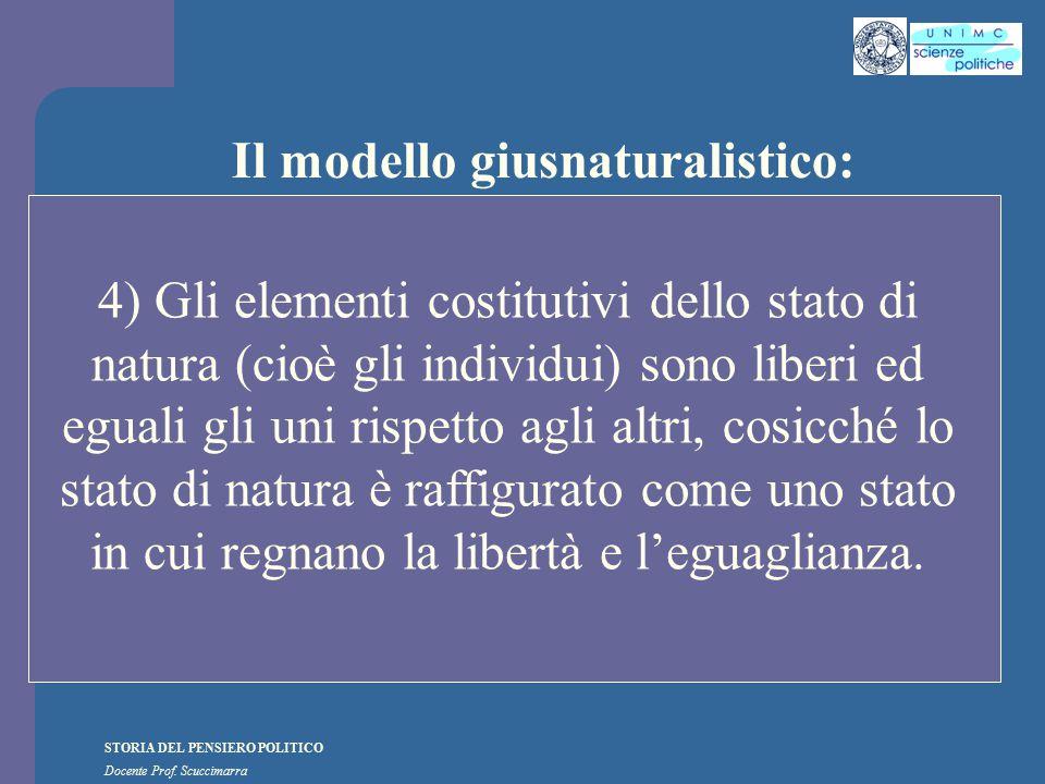 STORIA DEL PENSIERO POLITICO Docente Prof. Scuccimarra Il modello giusnaturalistico: 4) Gli elementi costitutivi dello stato di natura (cioè gli indiv