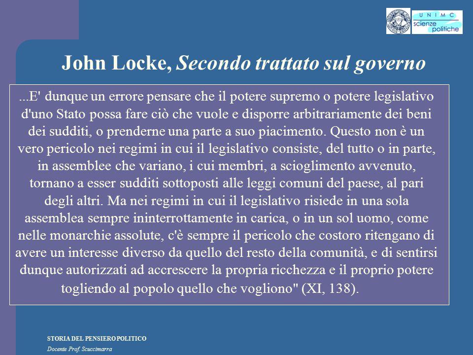 STORIA DEL PENSIERO POLITICO Docente Prof. Scuccimarra John Locke, Secondo trattato sul governo...E' dunque un errore pensare che il potere supremo o
