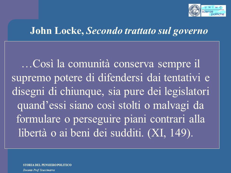 STORIA DEL PENSIERO POLITICO Docente Prof. Scuccimarra John Locke, Secondo trattato sul governo …Così la comunità conserva sempre il supremo potere di