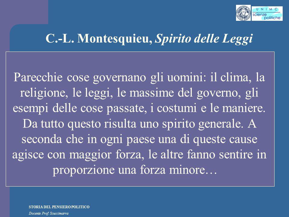 STORIA DEL PENSIERO POLITICO Docente Prof. Scuccimarra C.-L. Montesquieu, Spirito delle Leggi Parecchie cose governano gli uomini: il clima, la religi