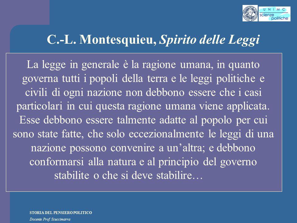 STORIA DEL PENSIERO POLITICO Docente Prof. Scuccimarra C.-L. Montesquieu, Spirito delle Leggi La legge in generale è la ragione umana, in quanto gover
