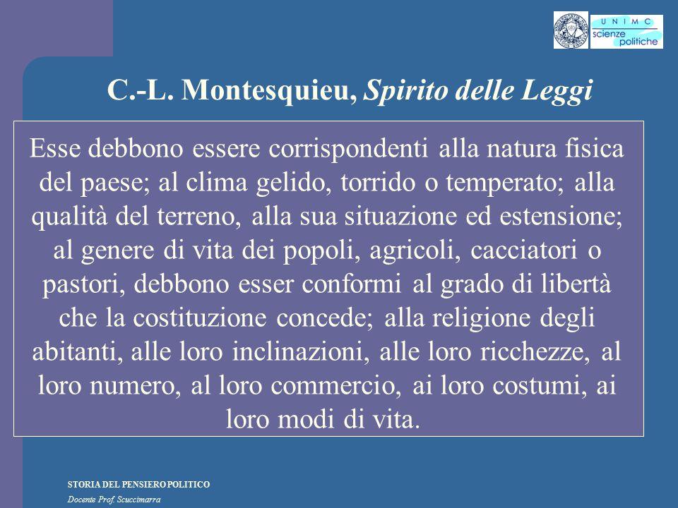 STORIA DEL PENSIERO POLITICO Docente Prof. Scuccimarra C.-L. Montesquieu, Spirito delle Leggi Esse debbono essere corrispondenti alla natura fisica de