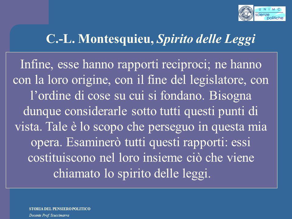 STORIA DEL PENSIERO POLITICO Docente Prof. Scuccimarra C.-L. Montesquieu, Spirito delle Leggi Infine, esse hanno rapporti reciproci; ne hanno con la l