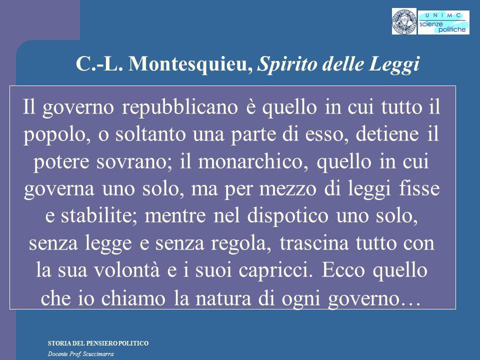 STORIA DEL PENSIERO POLITICO Docente Prof. Scuccimarra C.-L. Montesquieu, Spirito delle Leggi Il governo repubblicano è quello in cui tutto il popolo,