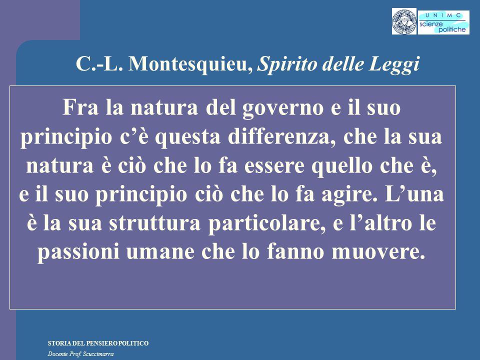 STORIA DEL PENSIERO POLITICO Docente Prof. Scuccimarra C.-L. Montesquieu, Spirito delle Leggi Fra la natura del governo e il suo principio c'è questa