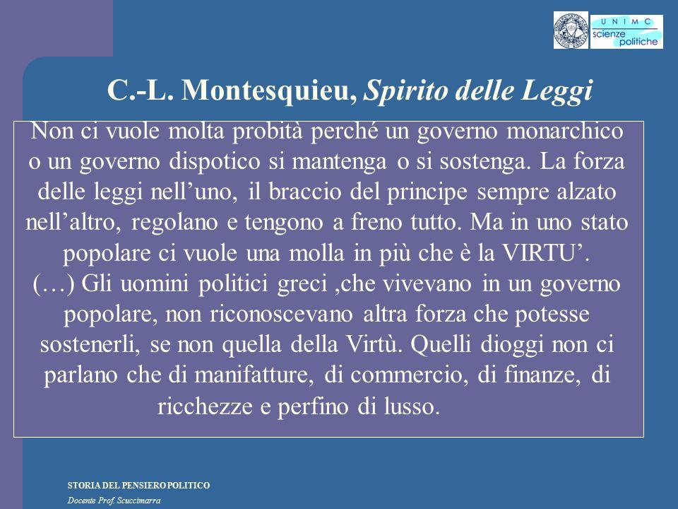 STORIA DEL PENSIERO POLITICO Docente Prof. Scuccimarra C.-L. Montesquieu, Spirito delle Leggi Non ci vuole molta probità perché un governo monarchico