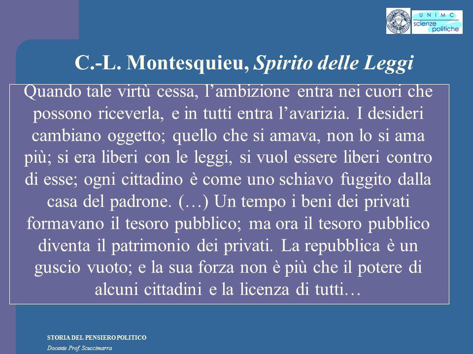 STORIA DEL PENSIERO POLITICO Docente Prof. Scuccimarra C.-L. Montesquieu, Spirito delle Leggi Quando tale virtù cessa, l'ambizione entra nei cuori che