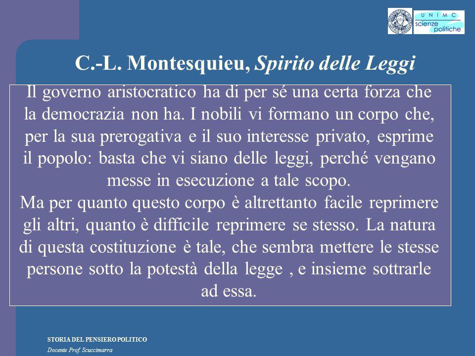 STORIA DEL PENSIERO POLITICO Docente Prof. Scuccimarra C.-L. Montesquieu, Spirito delle Leggi Il governo aristocratico ha di per sé una certa forza ch