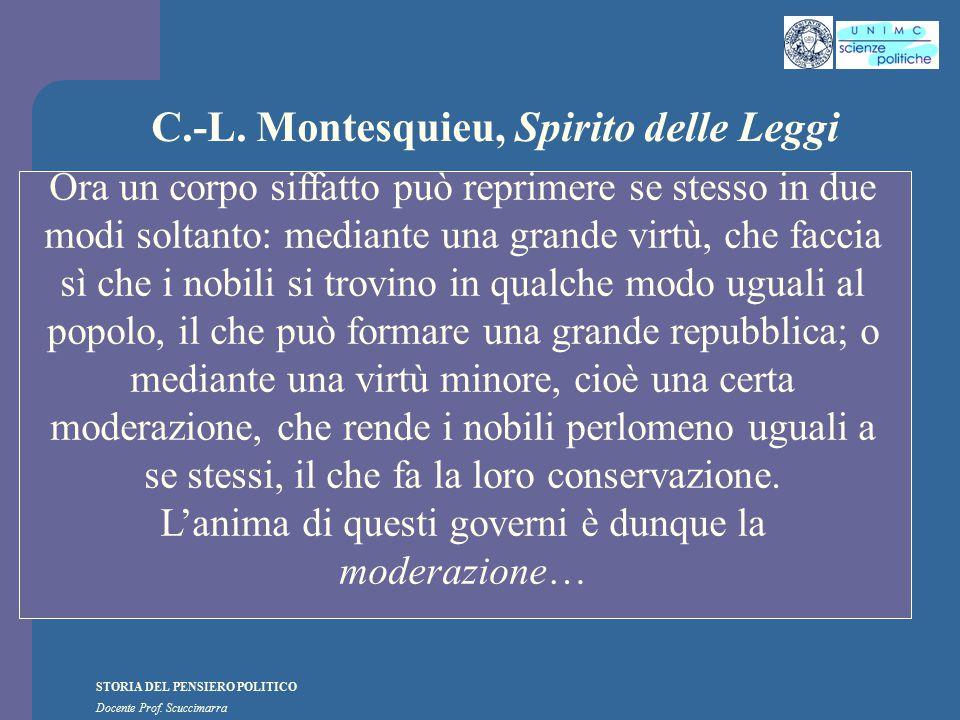 STORIA DEL PENSIERO POLITICO Docente Prof. Scuccimarra C.-L. Montesquieu, Spirito delle Leggi Ora un corpo siffatto può reprimere se stesso in due mod
