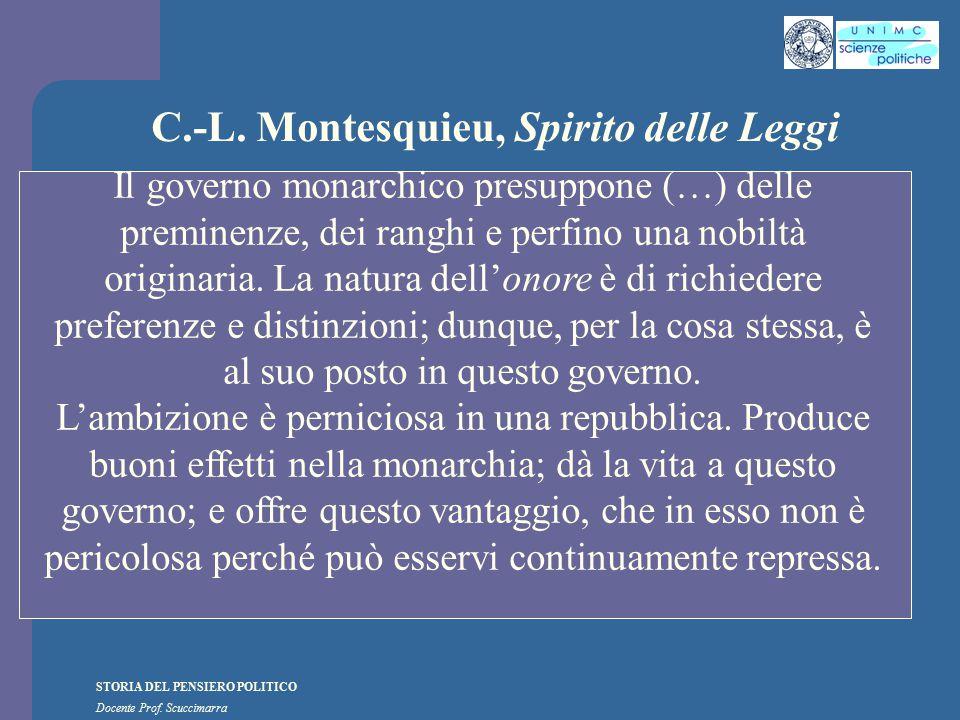 STORIA DEL PENSIERO POLITICO Docente Prof. Scuccimarra C.-L. Montesquieu, Spirito delle Leggi Il governo monarchico presuppone (…) delle preminenze, d