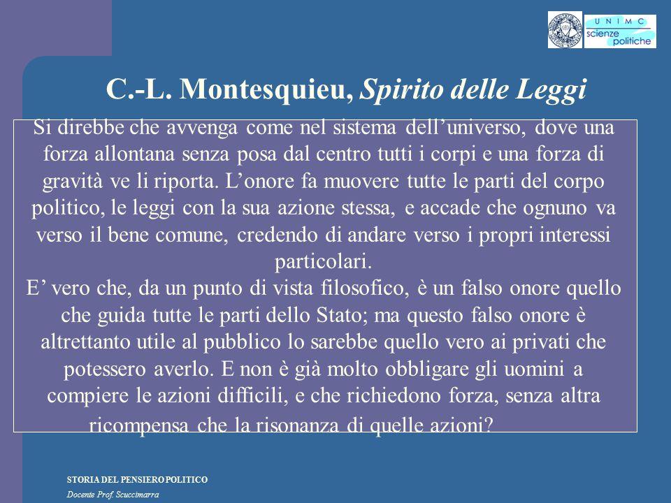 STORIA DEL PENSIERO POLITICO Docente Prof. Scuccimarra C.-L. Montesquieu, Spirito delle Leggi Si direbbe che avvenga come nel sistema dell'universo, d