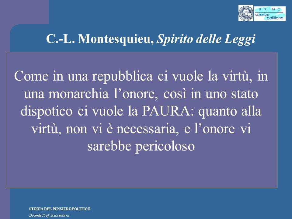 STORIA DEL PENSIERO POLITICO Docente Prof. Scuccimarra C.-L. Montesquieu, Spirito delle Leggi Come in una repubblica ci vuole la virtù, in una monarch