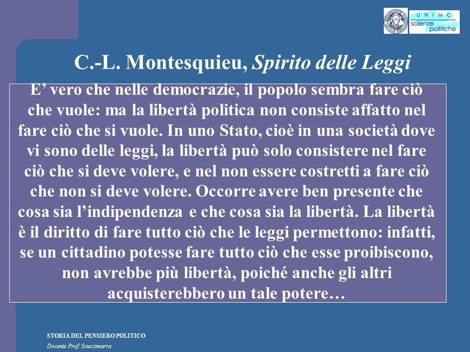 STORIA DEL PENSIERO POLITICO Docente Prof. Scuccimarra C.-L. Montesquieu, Spirito delle Leggi E' vero che nelle democrazie, il popolo sembra fare ciò