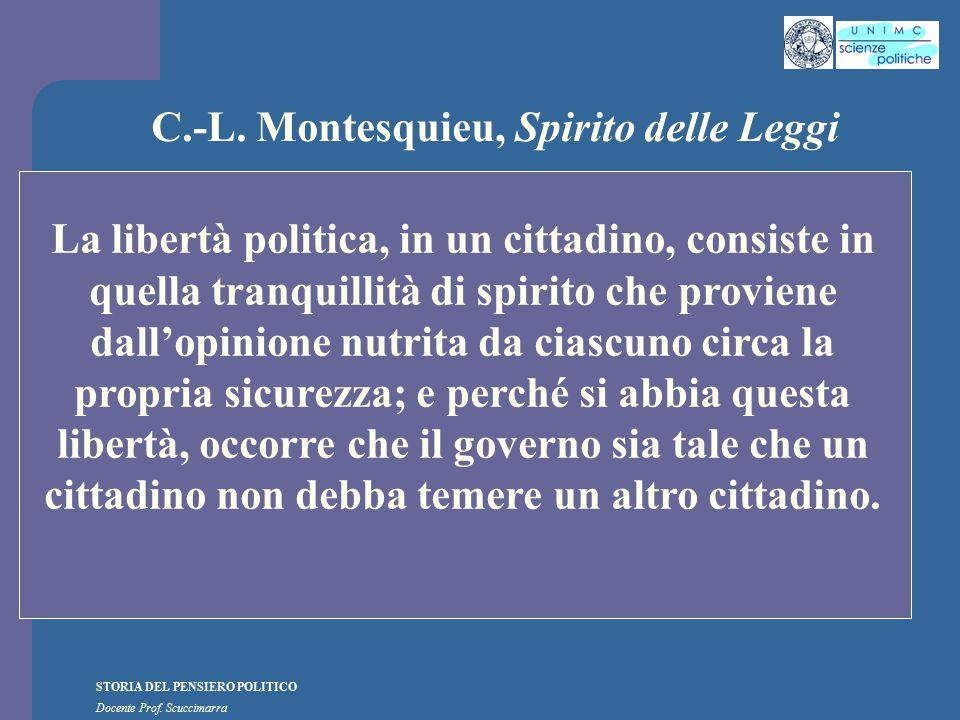 STORIA DEL PENSIERO POLITICO Docente Prof. Scuccimarra C.-L. Montesquieu, Spirito delle Leggi La libertà politica, in un cittadino, consiste in quella