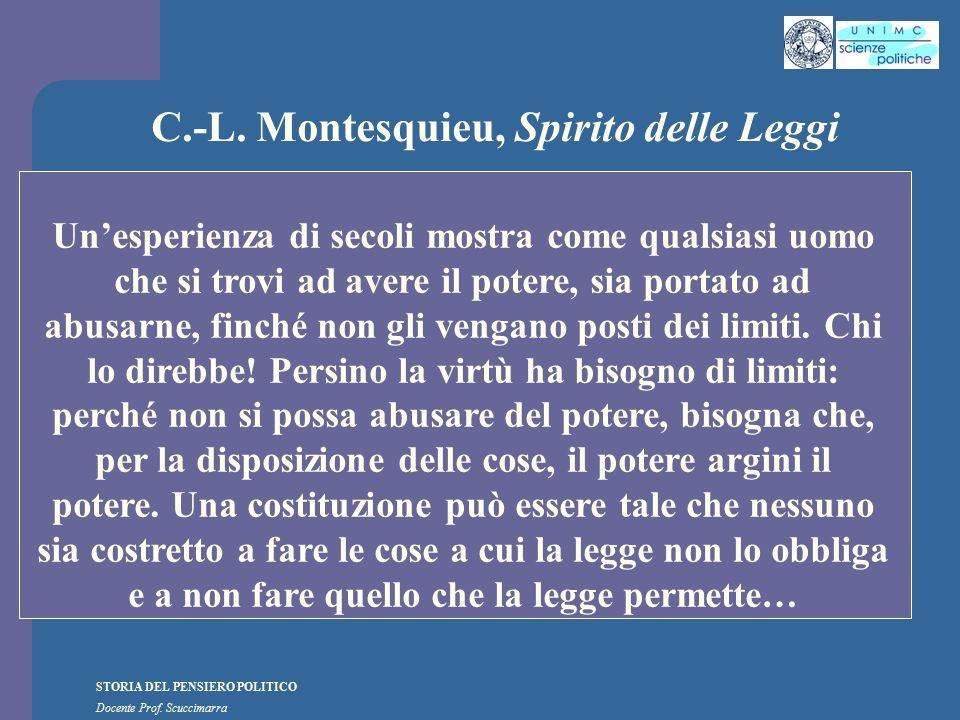 STORIA DEL PENSIERO POLITICO Docente Prof. Scuccimarra C.-L. Montesquieu, Spirito delle Leggi Un'esperienza di secoli mostra come qualsiasi uomo che s