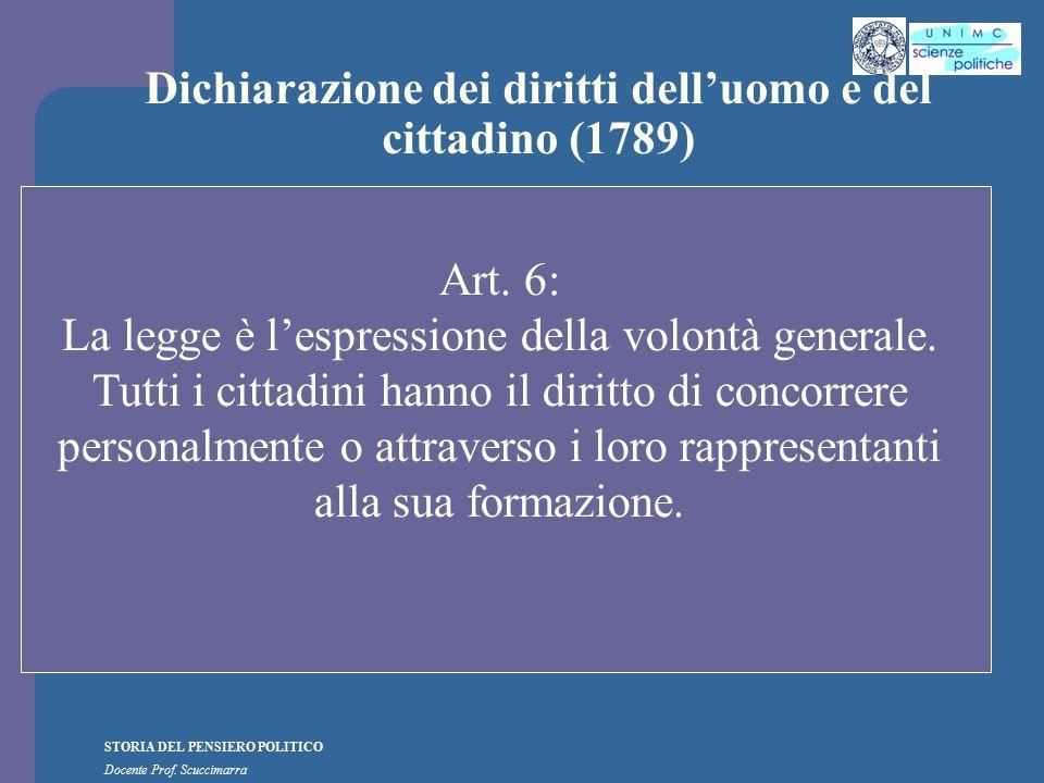 STORIA DEL PENSIERO POLITICO Docente Prof. Scuccimarra Dichiarazione dei diritti dell'uomo e del cittadino (1789) Art. 6: La legge è l'espressione del